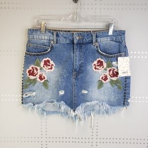 Free People Embroidered and Studded Denim Skirt